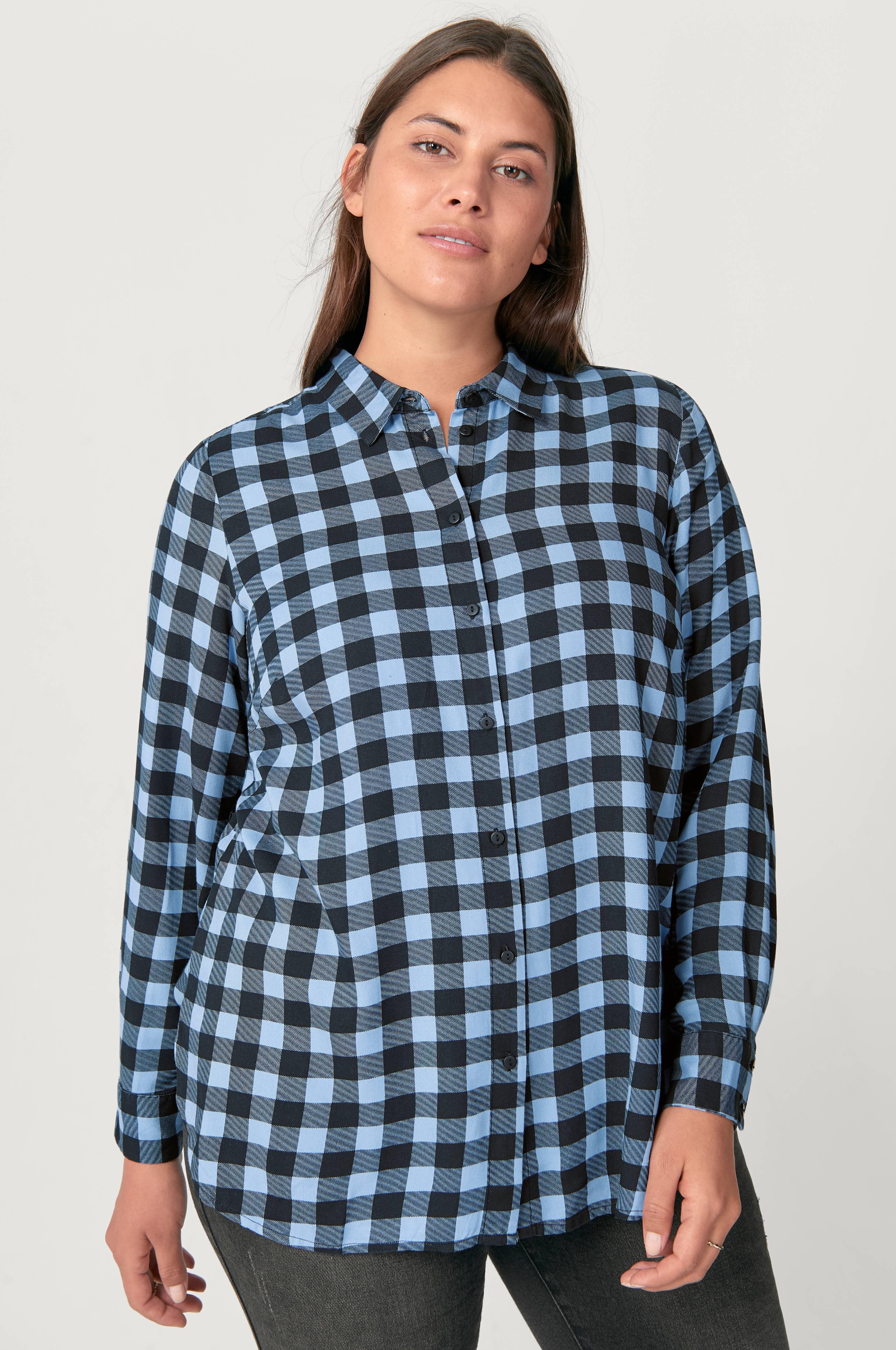 Zizzi Rutet skjorte Blå Skjorter Ellos.no