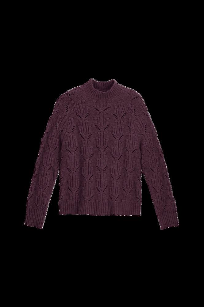 La Redoute Groftstrikket trøje med høj halsudskæring og hulmønster