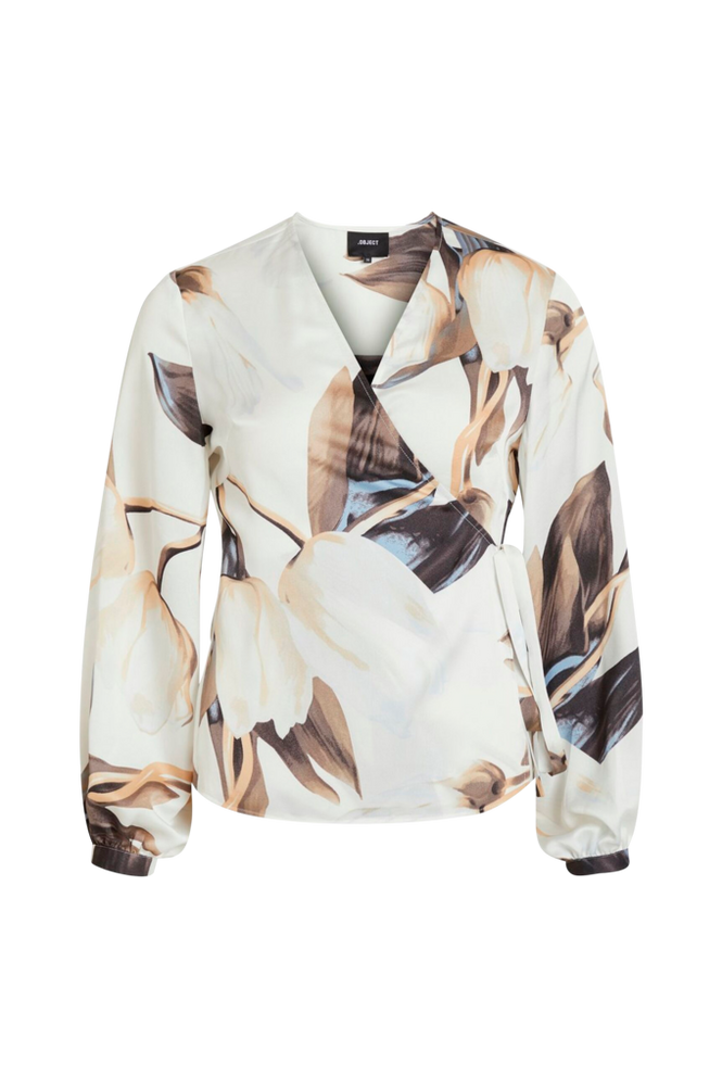 Object Slå-om-bluse objPania L/S Wrap Blouse
