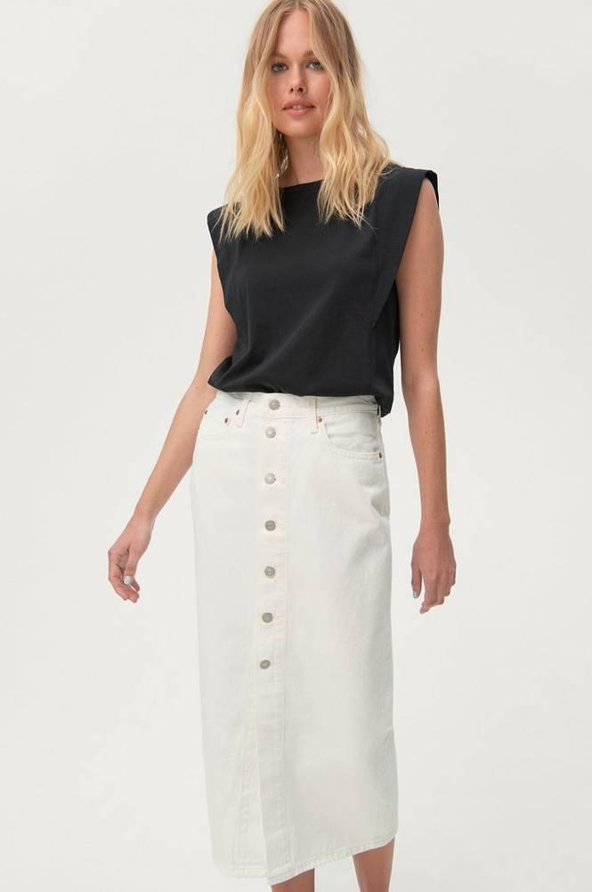 Levi's Denimnederdel Button Front Midi Skirt