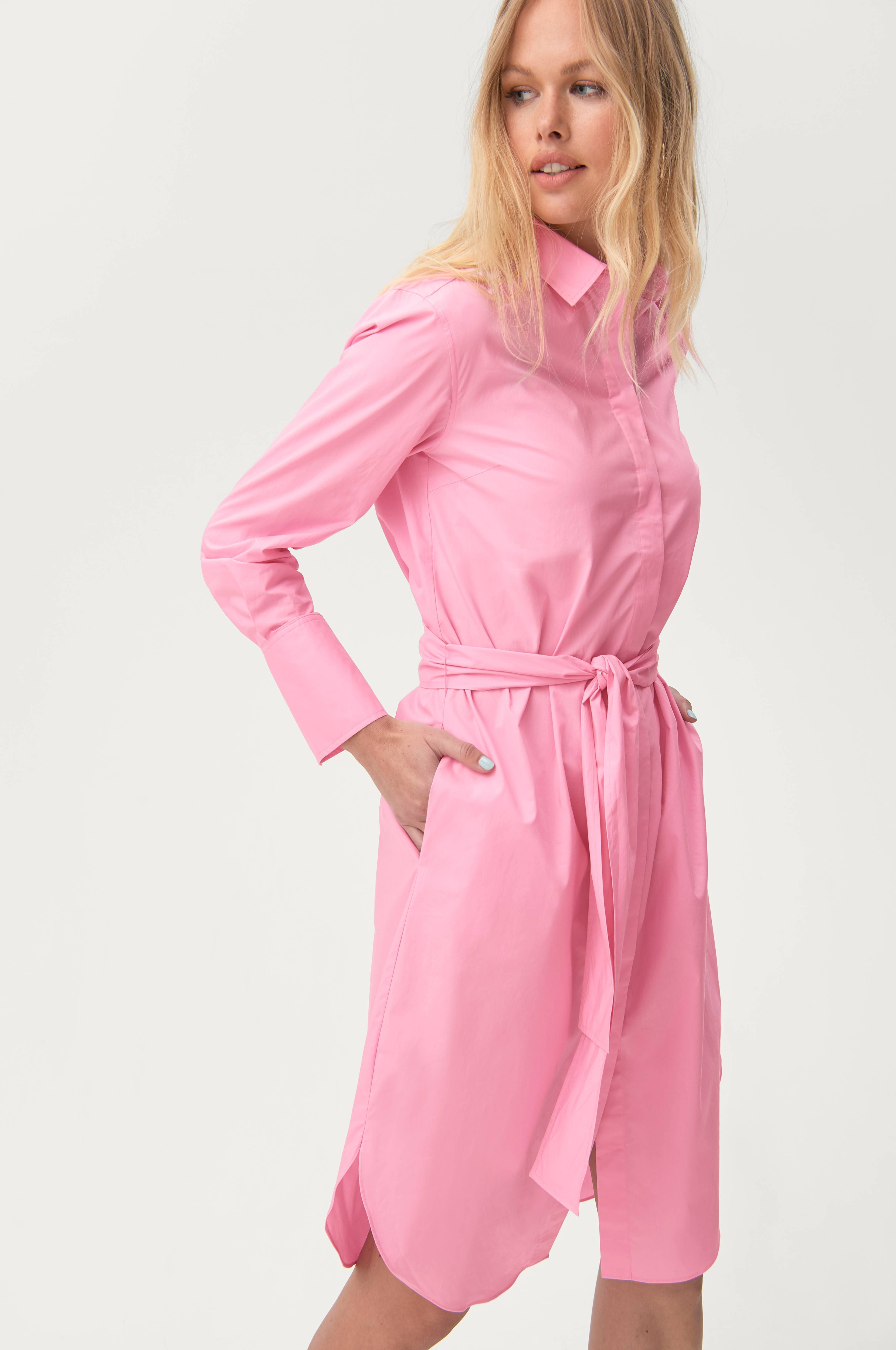 Second Female Skjortekjole Larkin LS Midi Shirt Dress Rosa