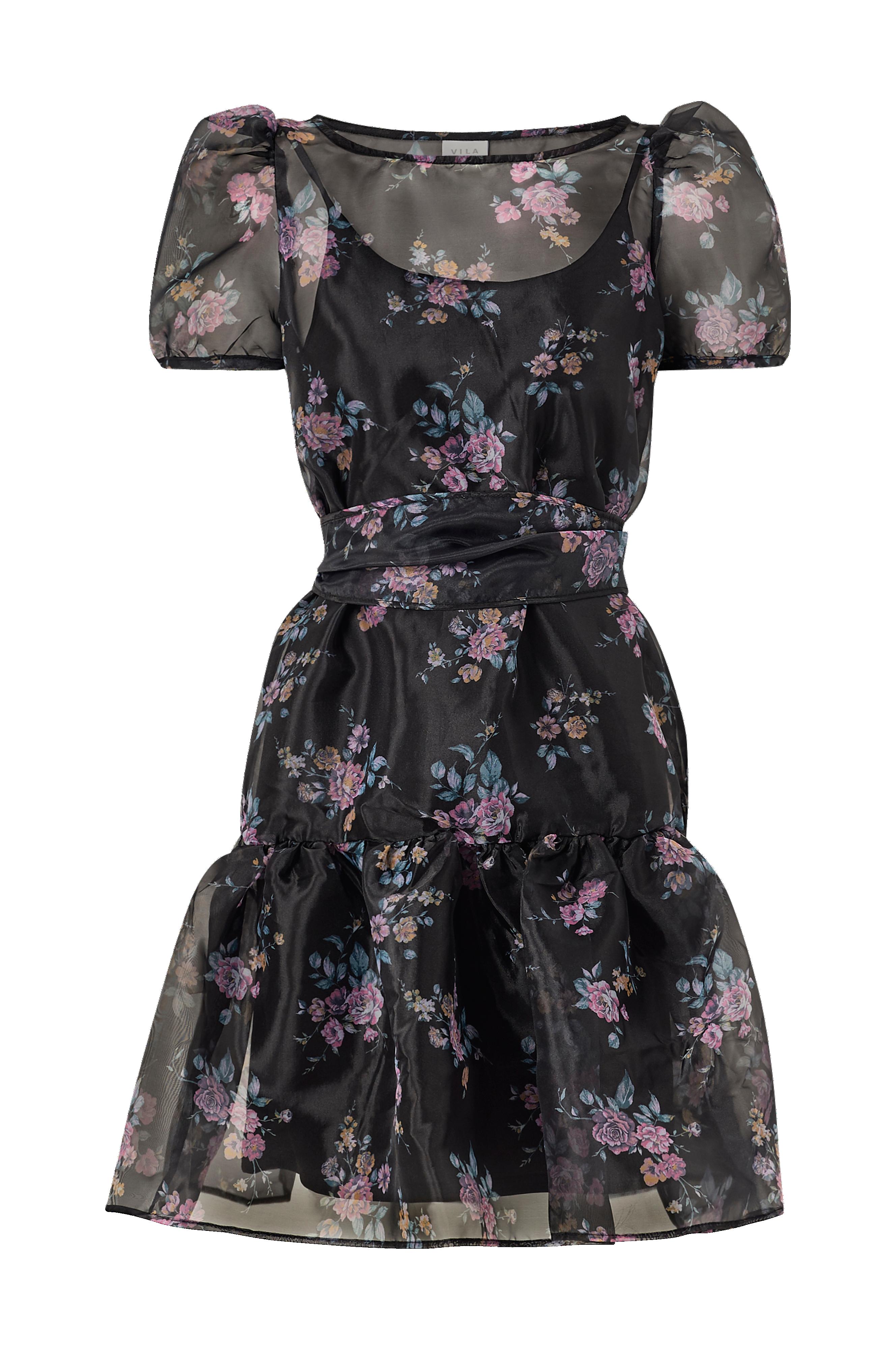 Vila Mekko viOrga SS Short Dress Musta Lyhyet mekot