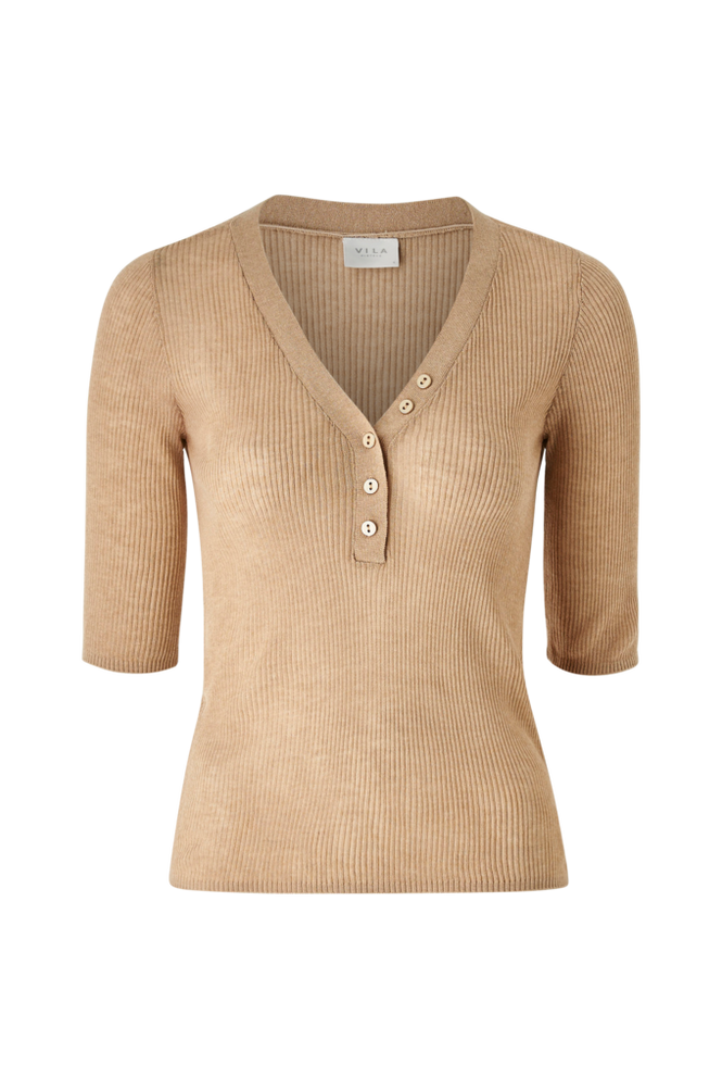 Vila Top viWola Knit V-neck 1/2 Sleeve Top