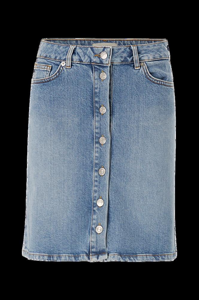 Selected Femme Denimnederdel slfRose MW Bayside Blue Denim Skirt