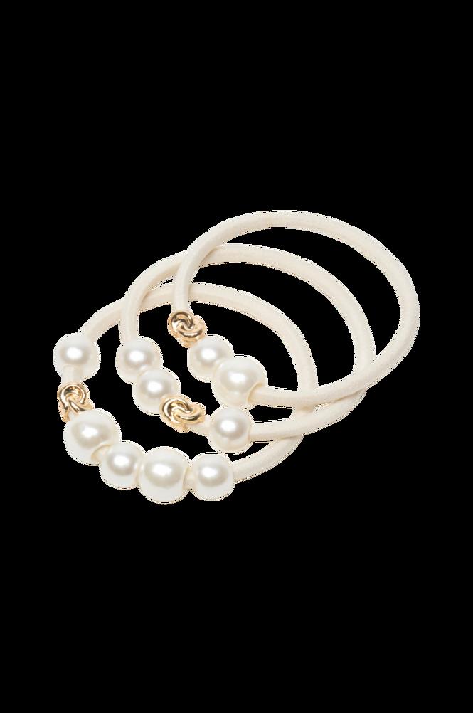 Corinne Hair Tie Pearls Plastic 3-pack