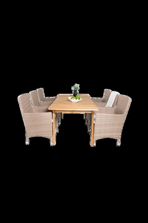 Matbord Milton och 6st Meja mat stol