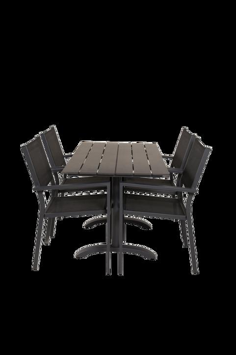 Cafébord Delta och 4st Cassie mat stol