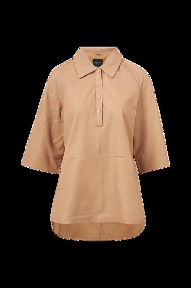 Selected Femme Skindskjorte slfAnnabella 3/4 Leather Shirt