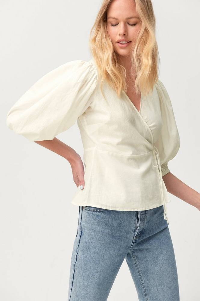Gina Tricot Slå om-bluse Ella Linen Wrap Shirt