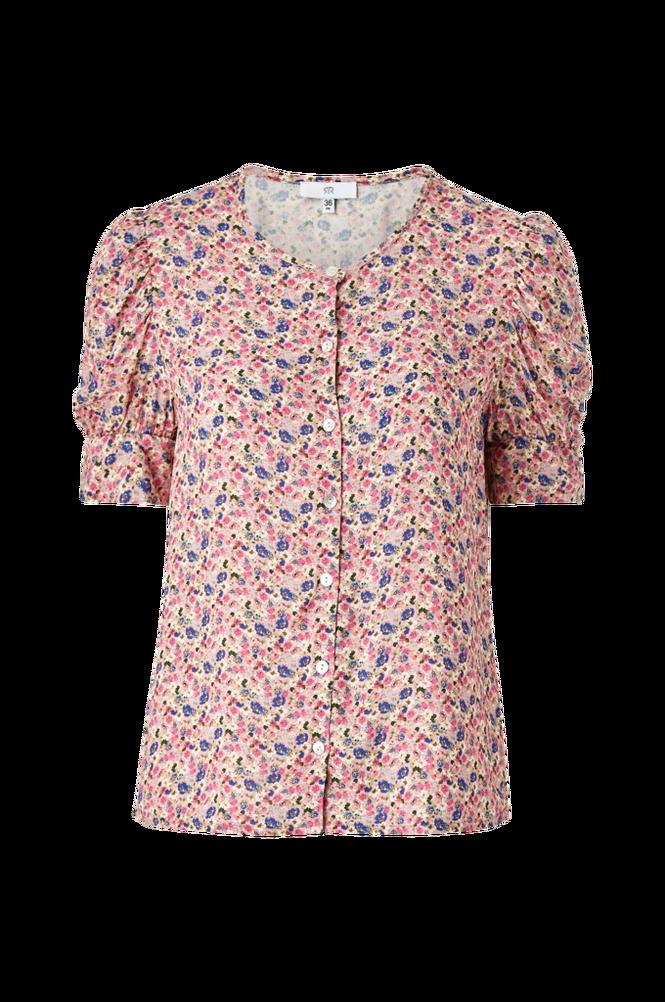 La Redoute Blomstret bluse med rund hals og kort ærme