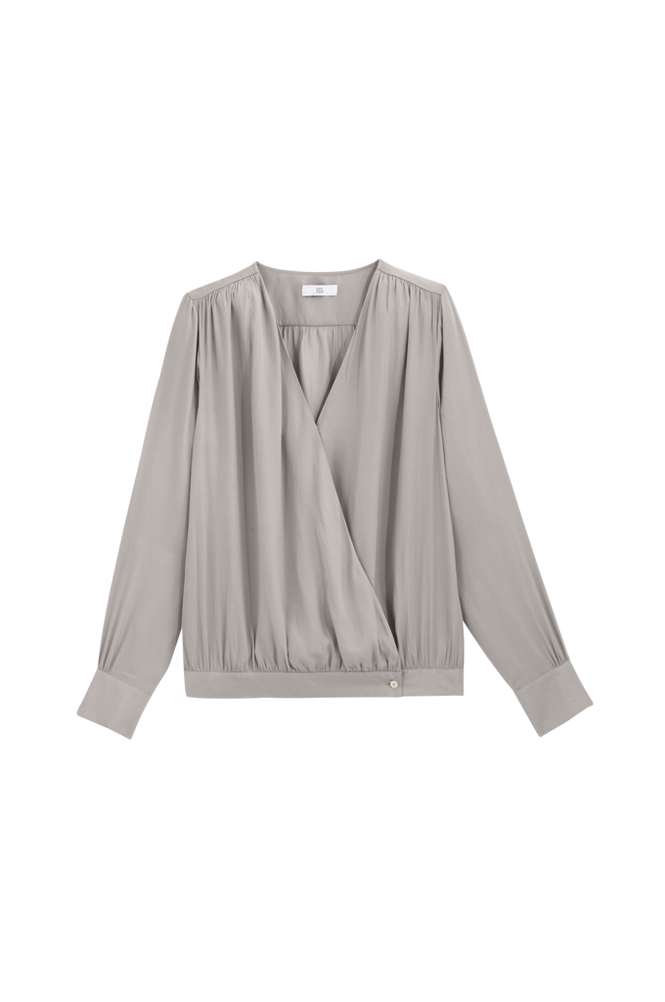 La Redoute Slå om-bluse med langt ærme