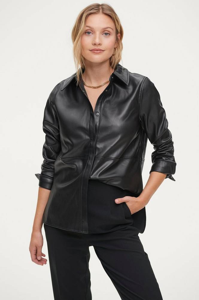 Se Gina Tricot Skjorte Annie PU Shirt ved Ellos