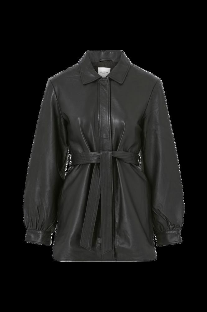 Selected Femme Skjortejakke slfLili LS Long Leather Shirt Jacket