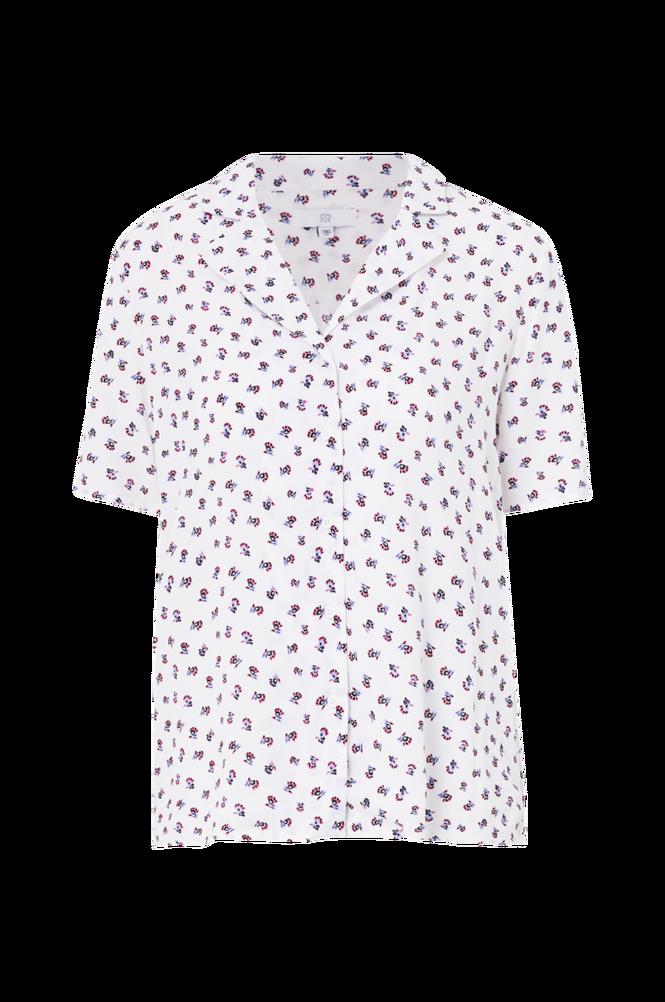 La Redoute Mønstret bluse med kort ærme og krave med revers