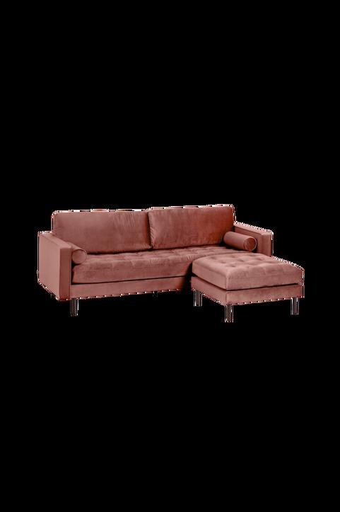 Soffa 3-sits rosa sammet med puff Debra 222 cm