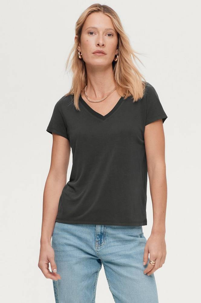 Soaked in Luxury Top sl Columbine V-neck SS