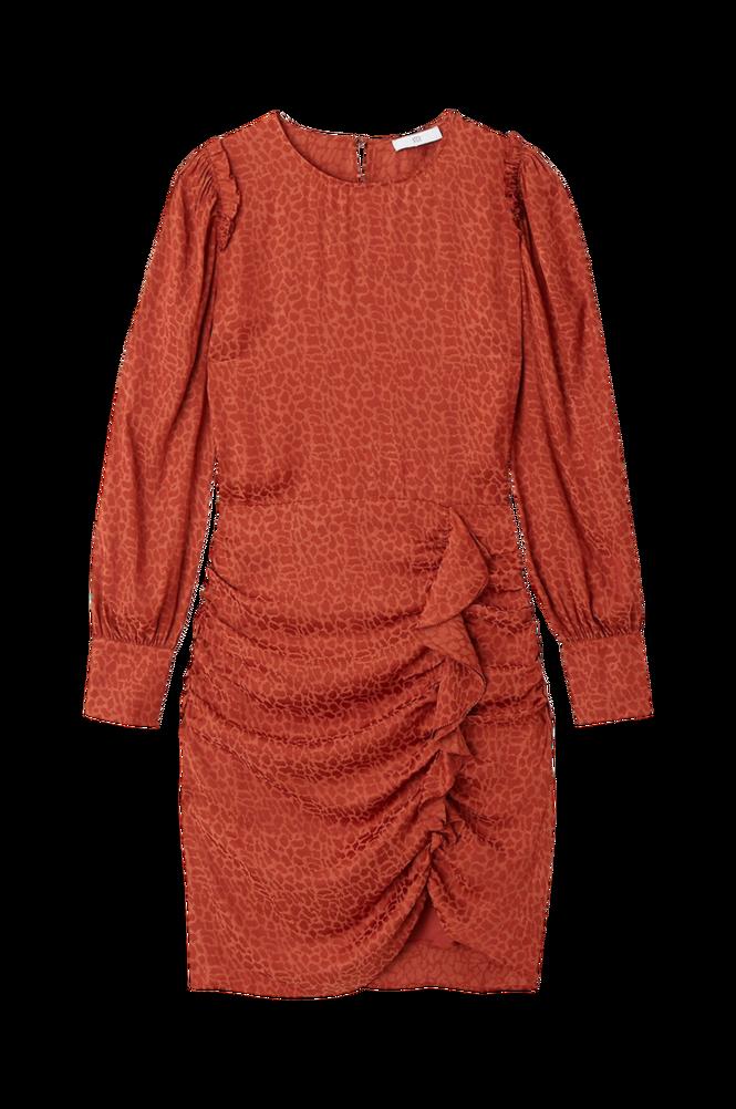 La Redoute Draperet kjole med flæser og langt ærme