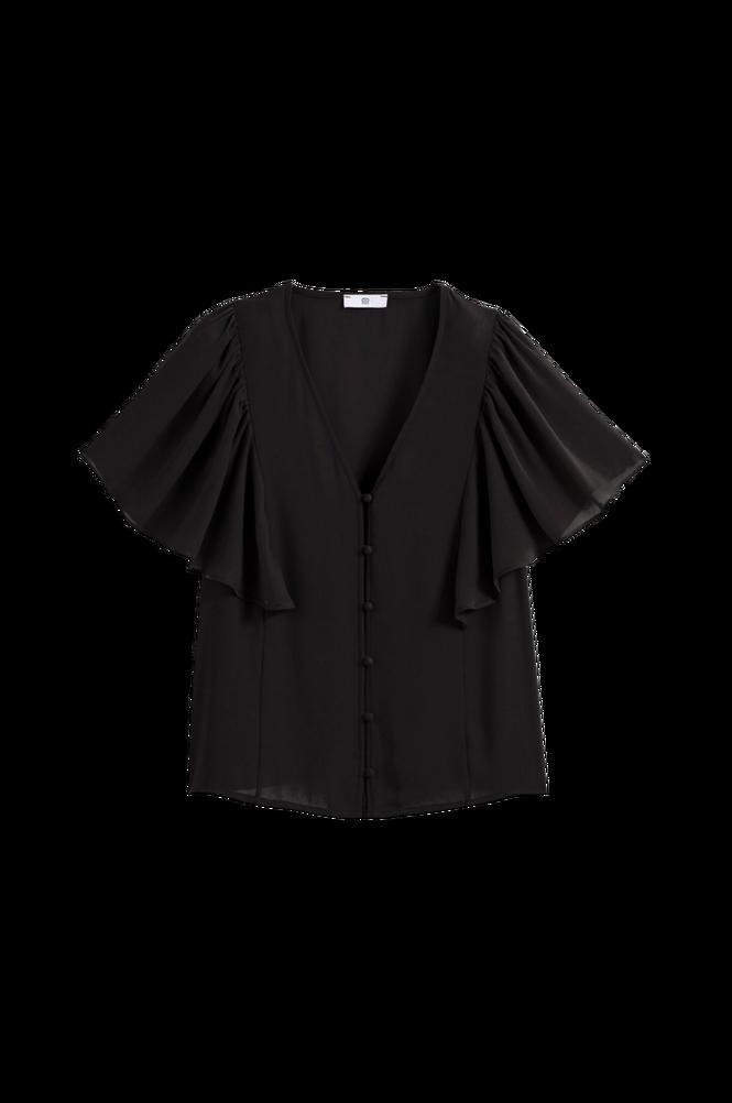 La Redoute Bluse med V-udskæring og kort flæseærme