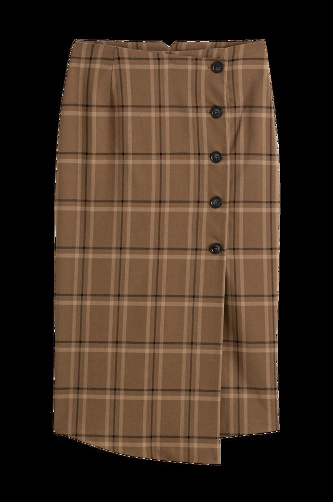 La Redoute Halvlang slå-om-nederdel med tern