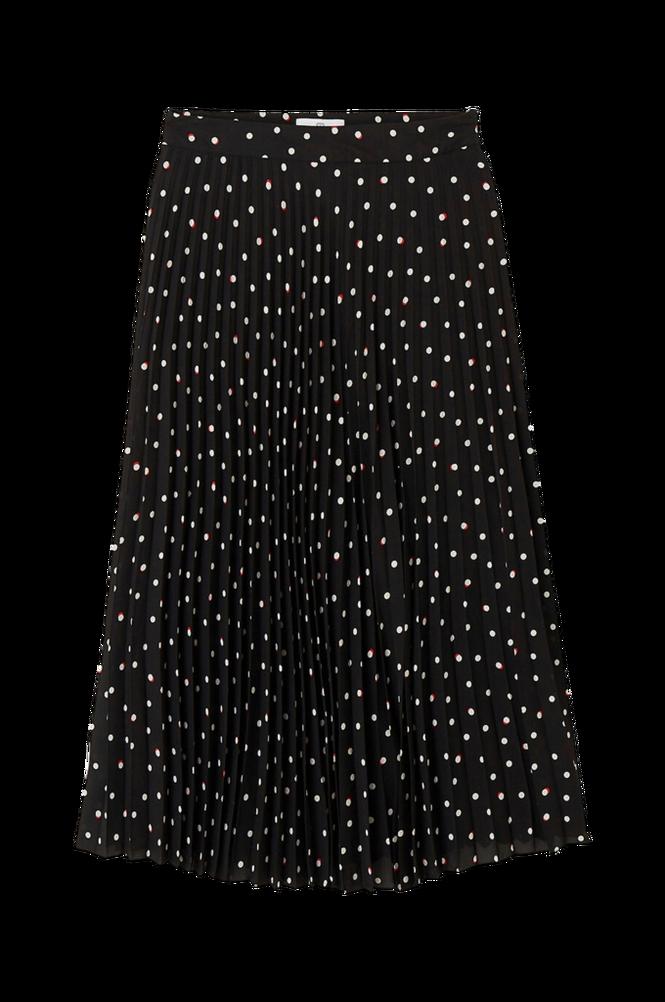 La Redoute Lang, plisseret nederdel med prikket mønster
