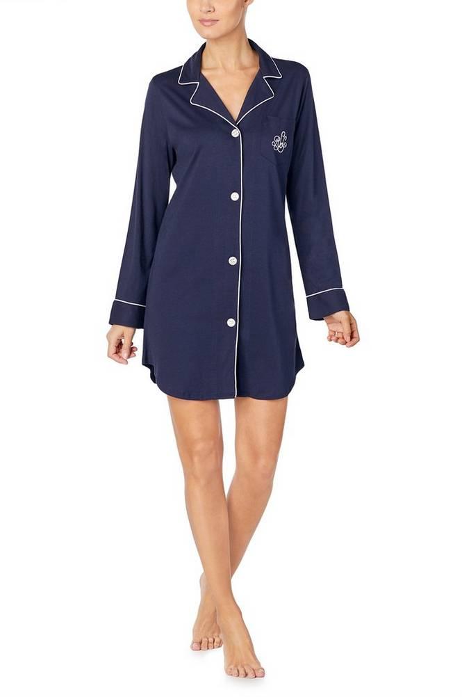 Lauren Ralph Lauren Natskjorte LRL Hammond Knit Collar Sleepshirt