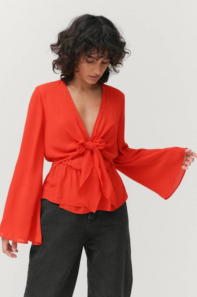 Gina Tricot Bluse Lizzie Tie Front Blouse
