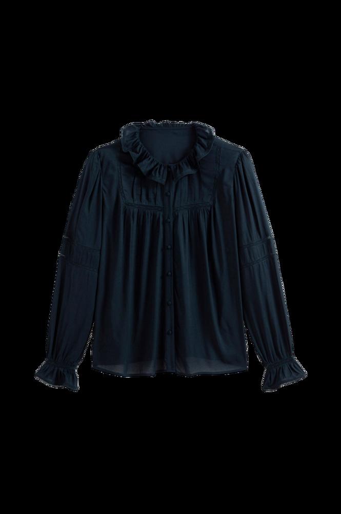 La Redoute Bluse med rund halsudskæring med flæsekrave og blondedetaljer