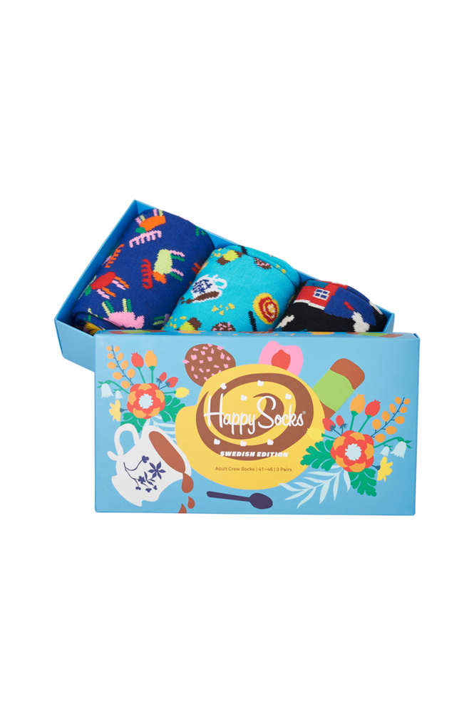 Happy Socks Gaveæske Swedish Edition Gift Set 3-pak