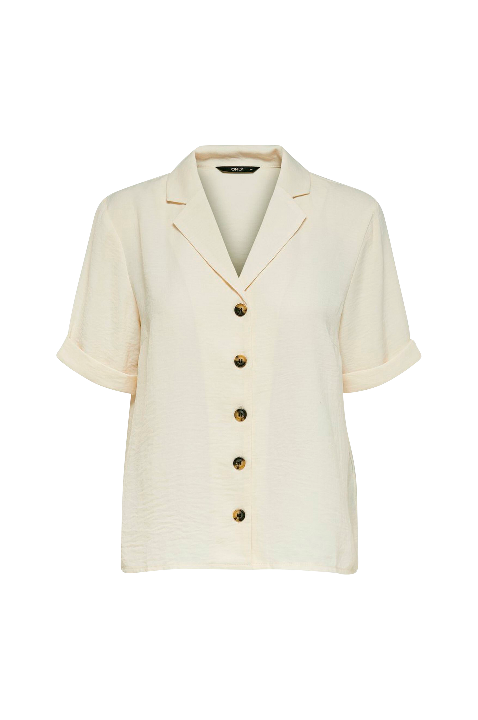 Only - Skjorta onlSky S/S Shirt Solid - Natur