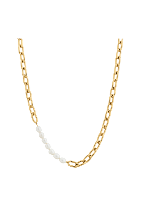 Halsband Trellis Pearl Necklace Gold