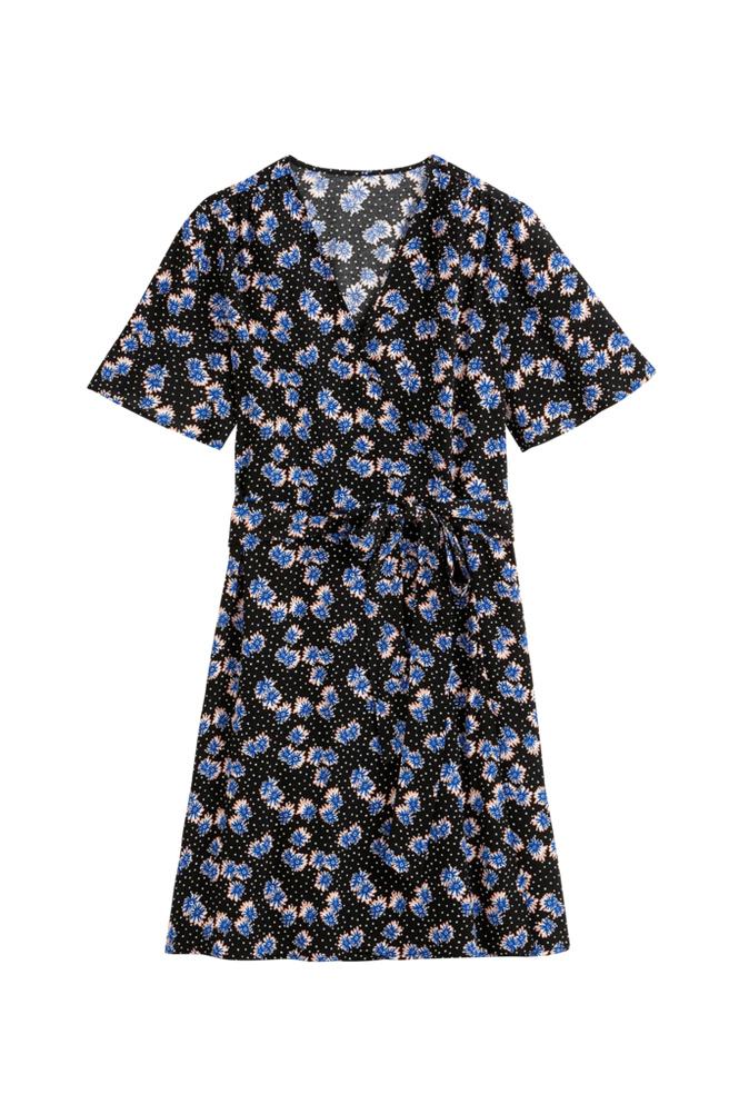 La Redoute Blomstret slå om-kjole med kort ærme