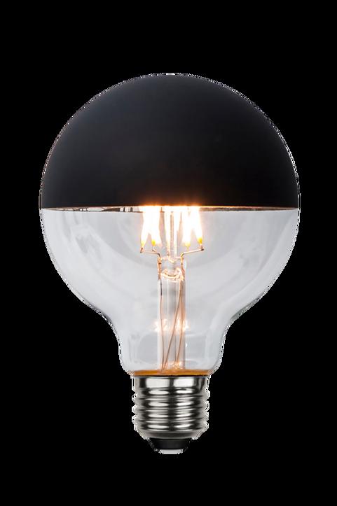 Ljuskälla E27 LED Glob 95 mm Toppförspeglad Svart 2,8W