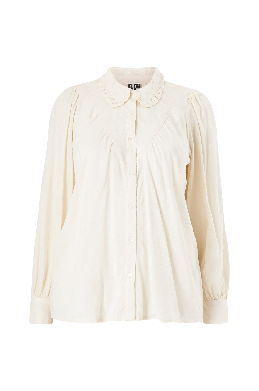 Vero Moda Curve - Blus vmNanna LS Shirt - Natur