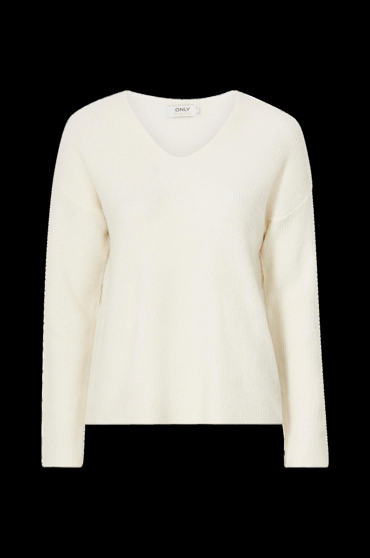 Only - Tröja onlCamilla V-neck L/S Pullover Knt - Natur