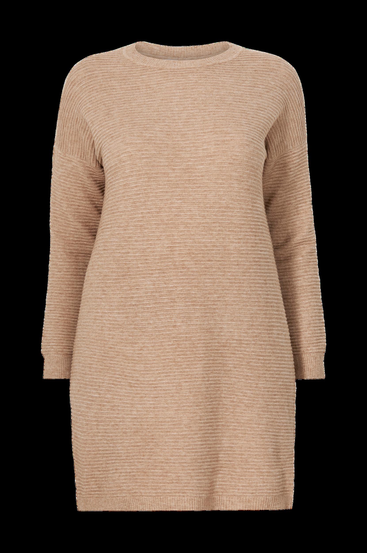 Only Carmakoma - Stickad klänning carKaria L/S Tunic Dress Knt - Natur