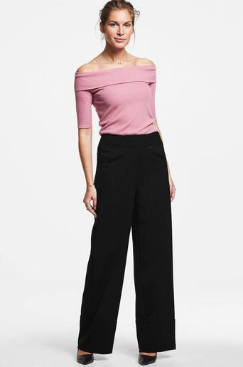 The wide leg trousers -housut