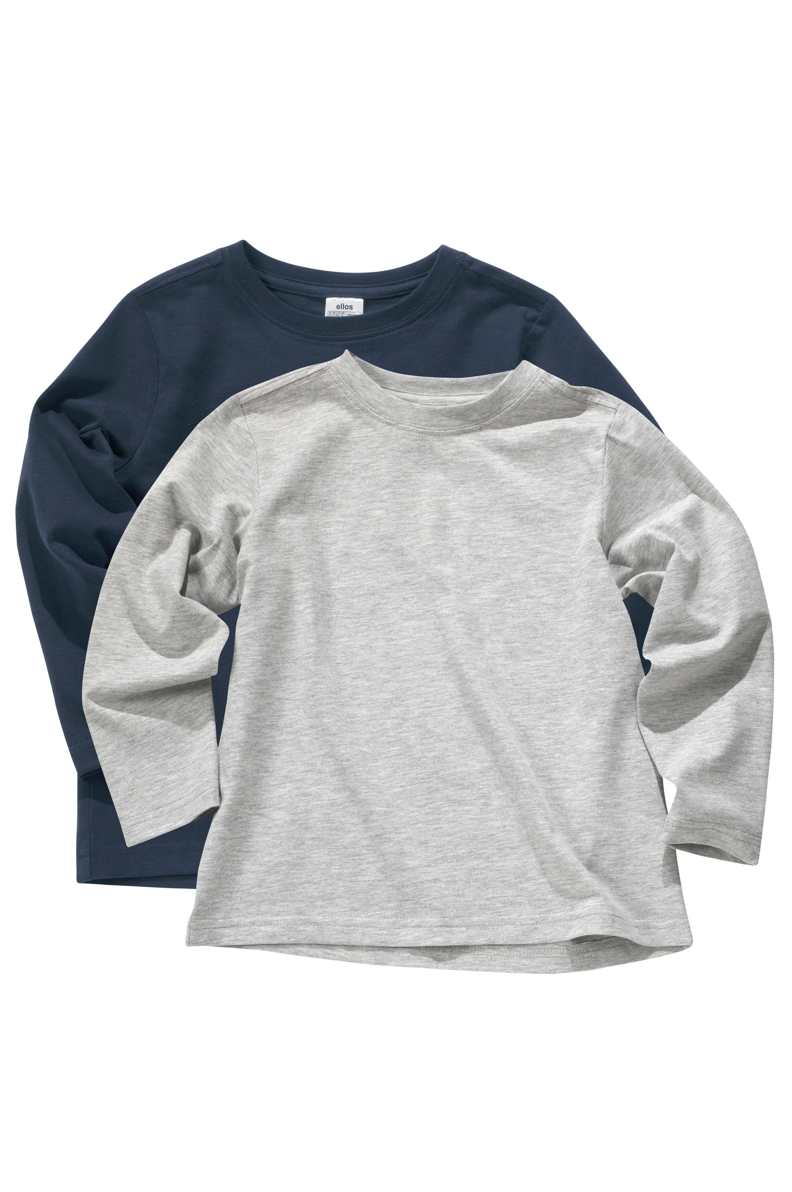 Ellos Kids Långärmad t-shirt i ekologisk bomull 2-pack - Grå - Barn -  Ellos.se e0a830b8d7212