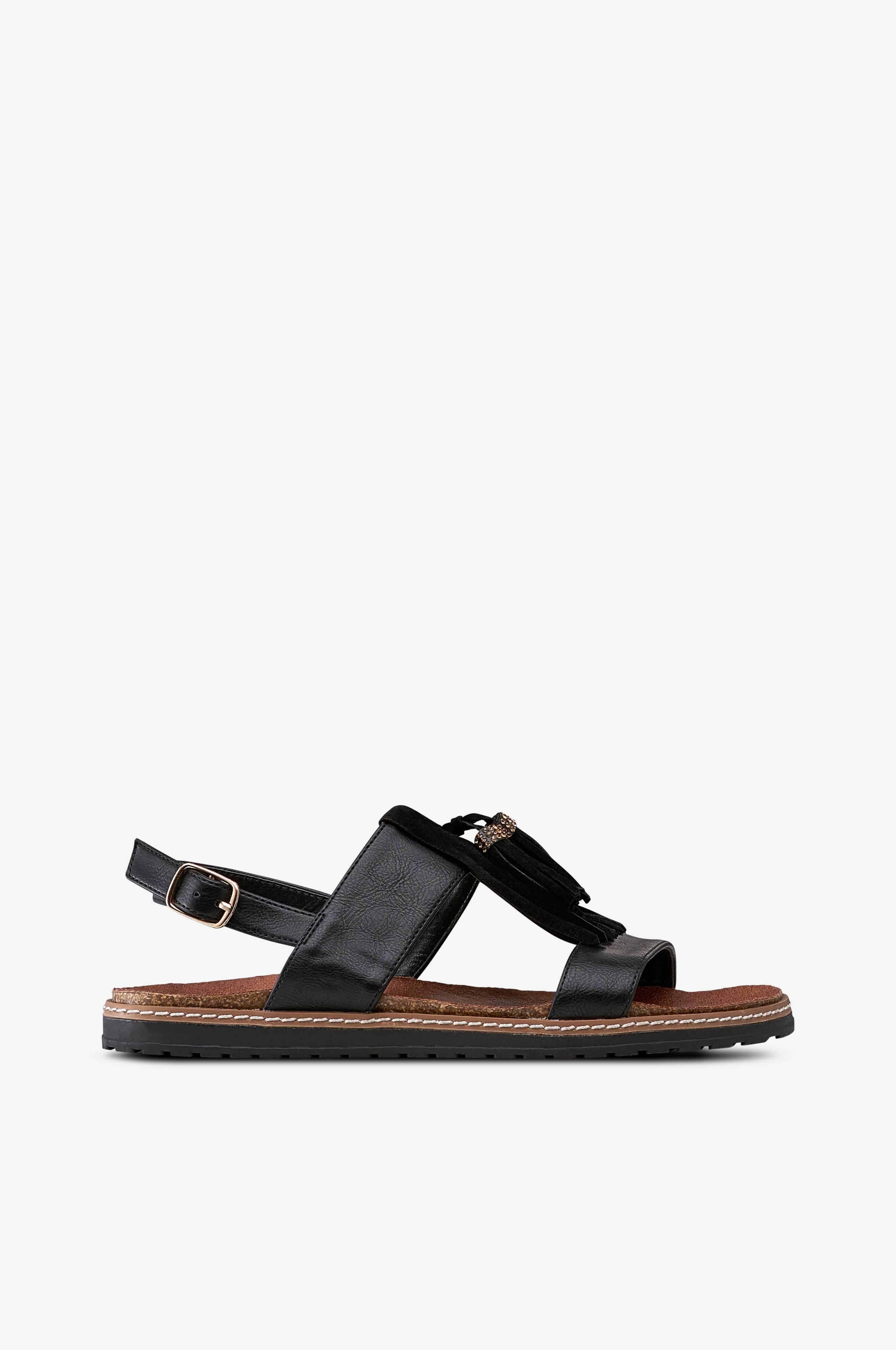 Ellos Shoes Sandal Matilda Fringes Sort Dame Ellos.dk