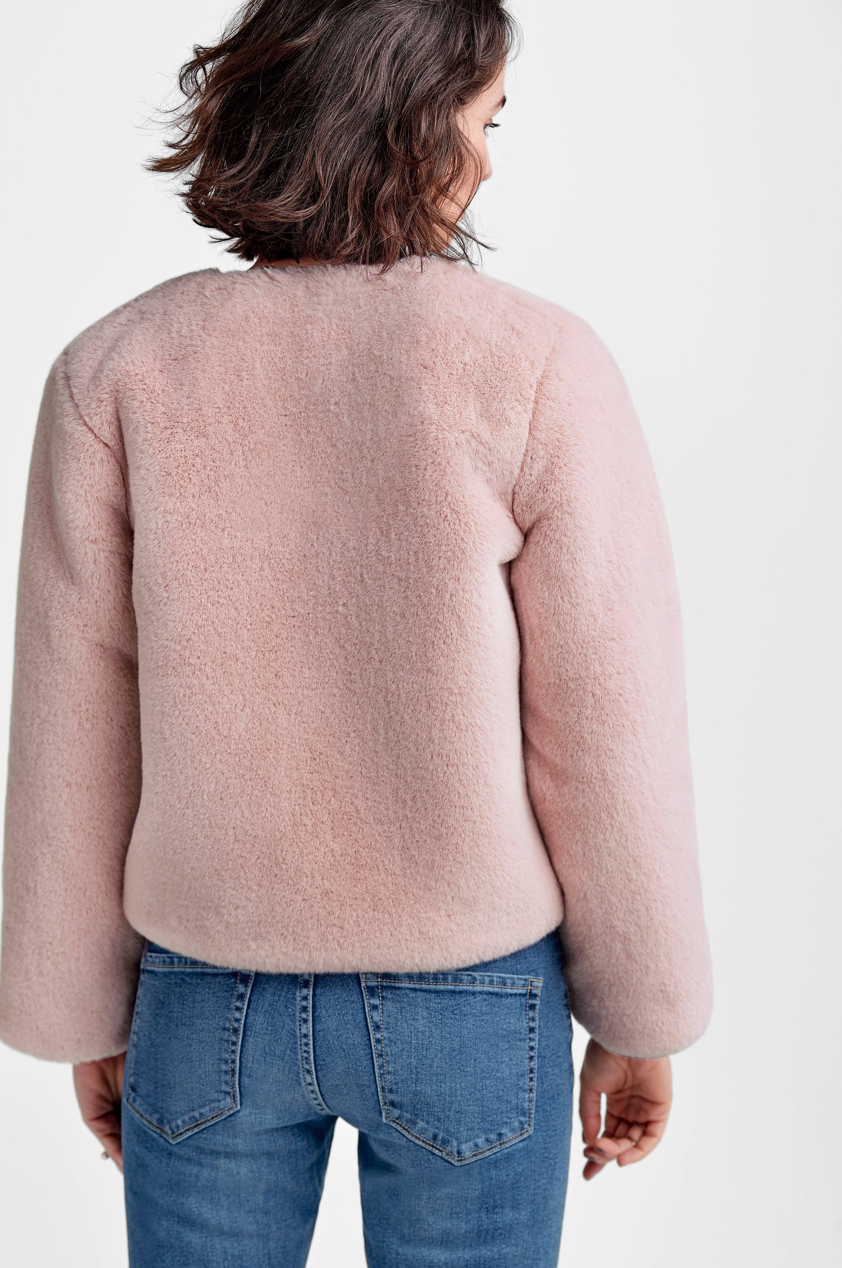 Ellos Collection Kort jakke i fuskepels Rosa Barn Ellos.no