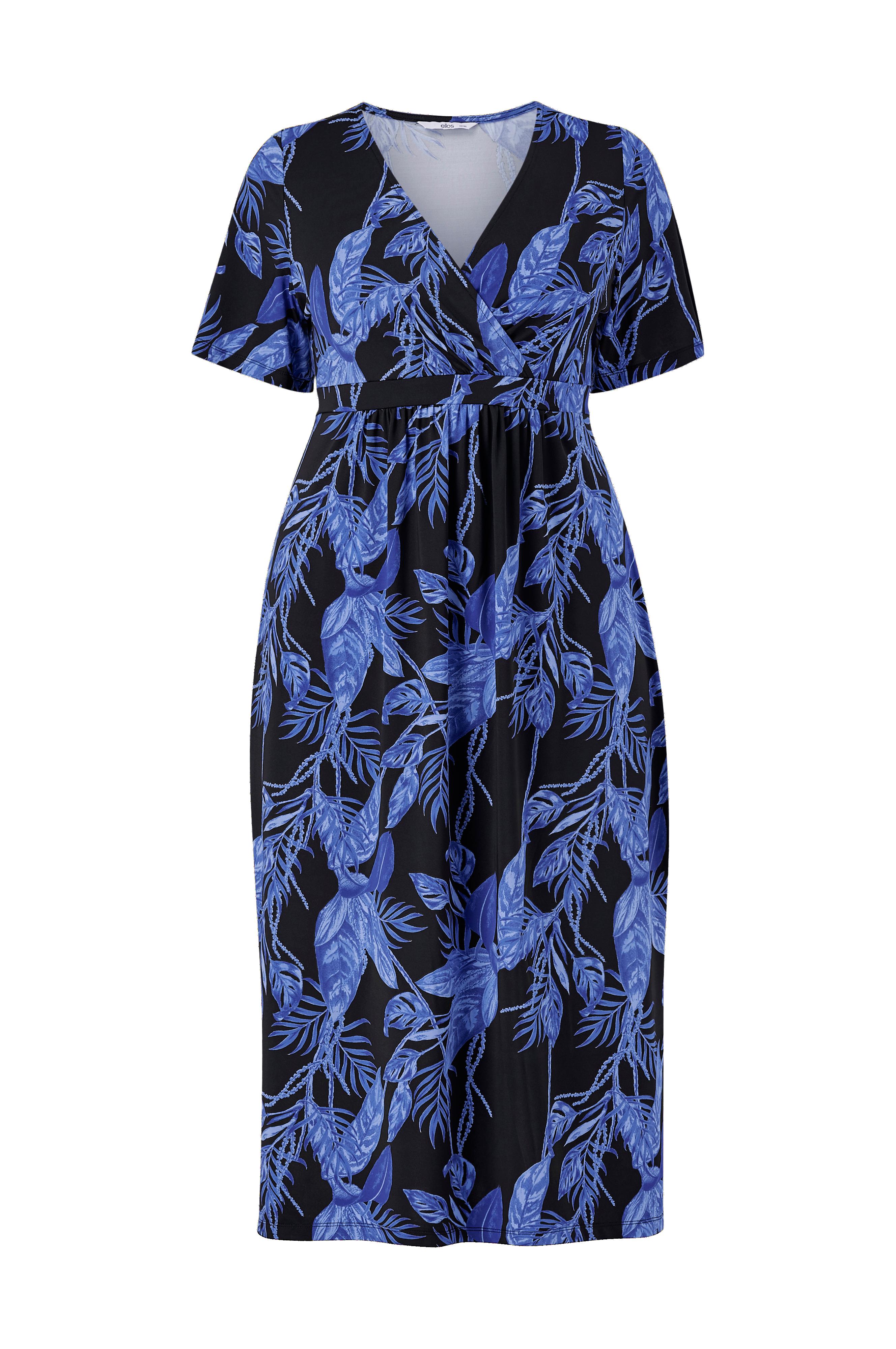 Ellos Plus collection Kjole i mønstret jersey - Blå - Jerseykjoler