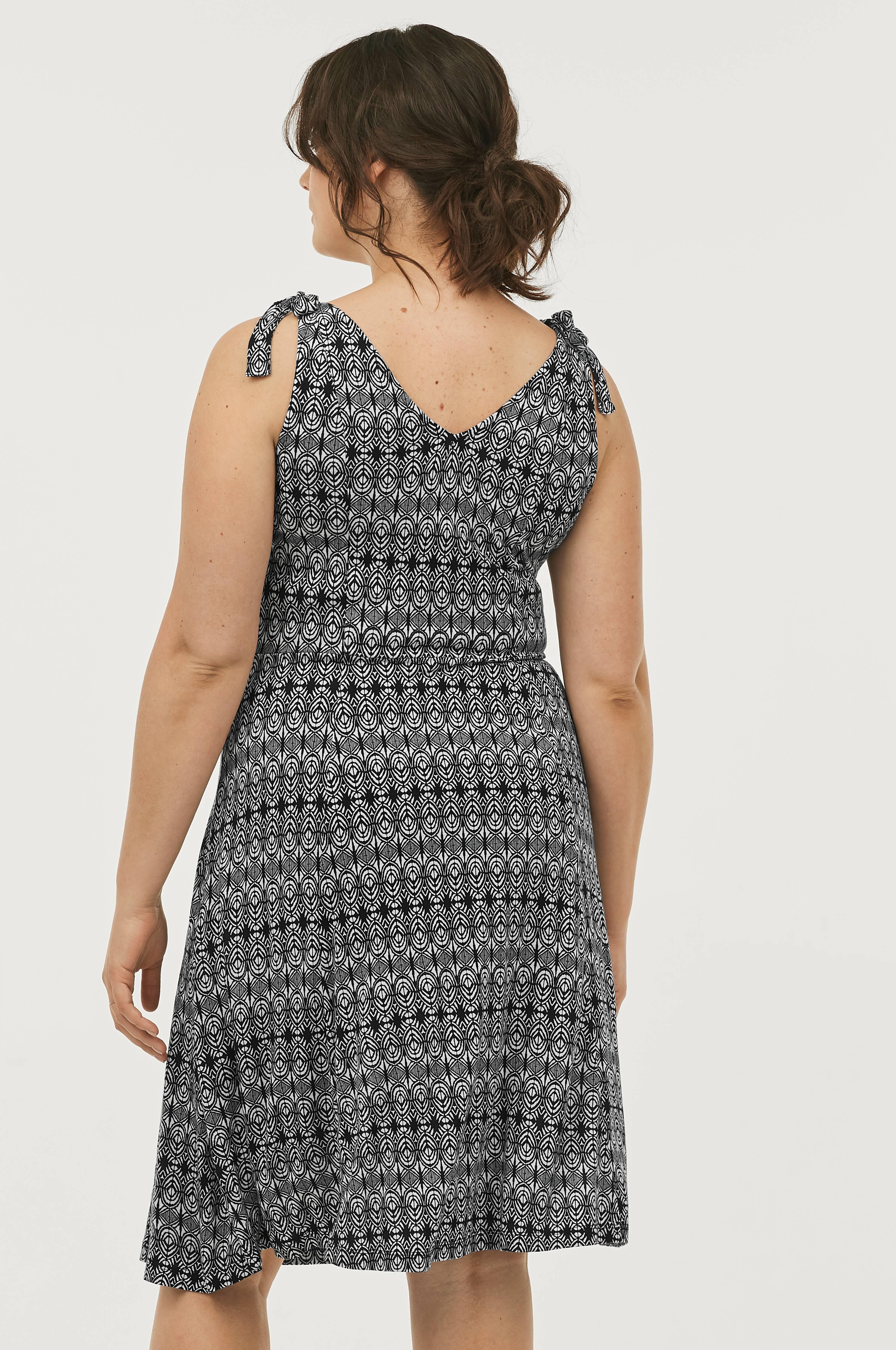 Kjole med skulderbånd som kan knytes, Black and white