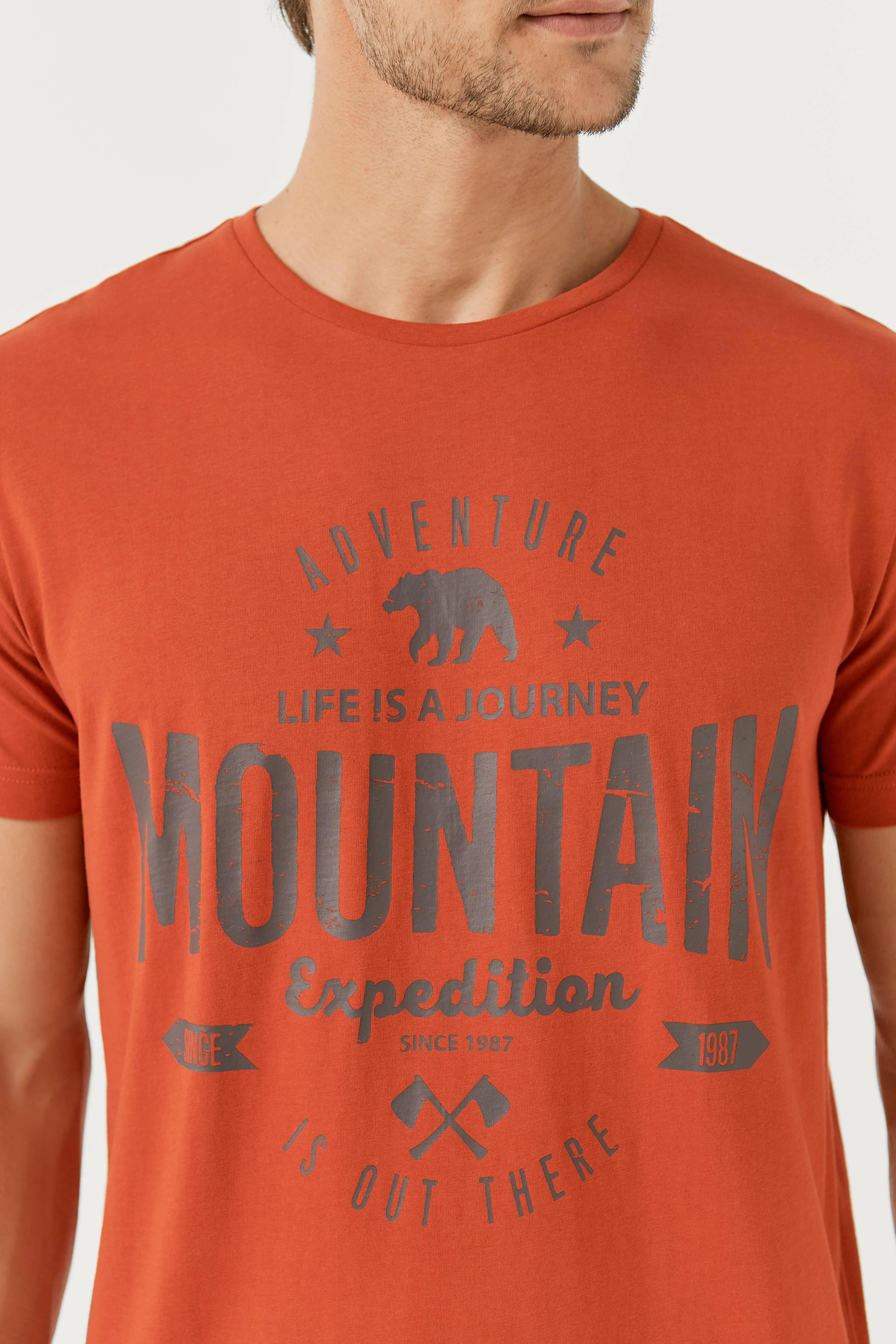 Ellos Men T-shirt med tryck - Röd - Herr