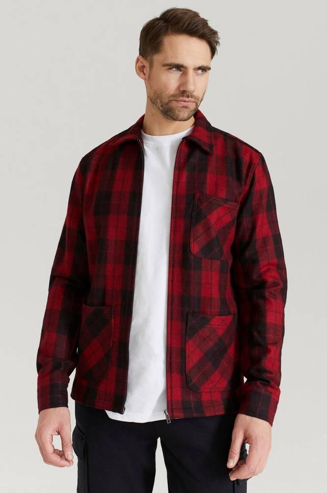 William Baxter Overshirt Check Zip Overshirt