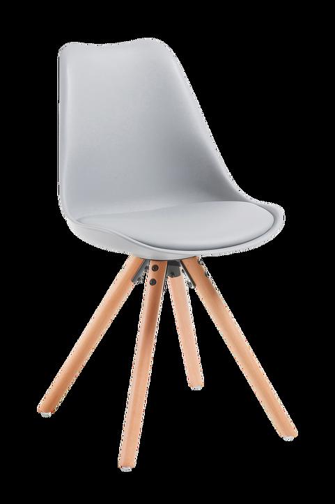 LARS stol trä/ljusgrå plast, 4-pack