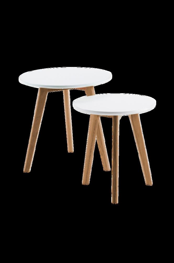 Satsbord BRICK 2 stycken Ø50 trä/vit MDF