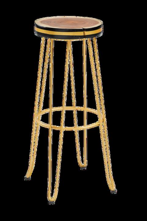 Barstol FARLEY guldfärgad metall/trä