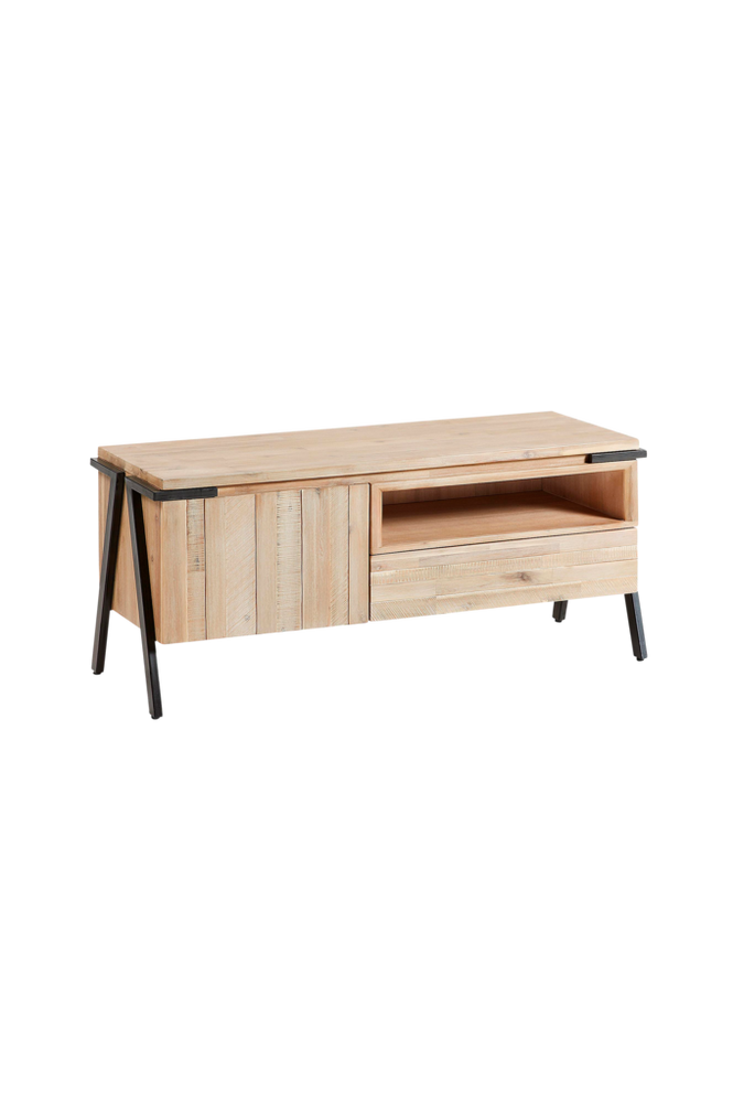 TV-bänk DISSET 125×53 metall/akaciaträ