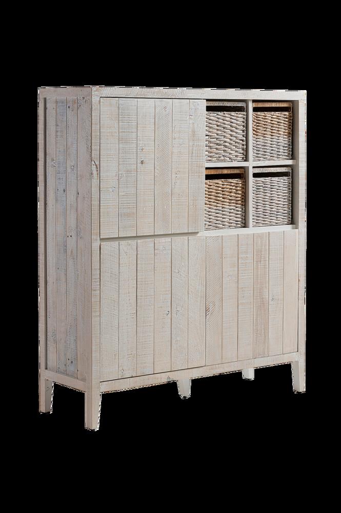 Sideboard WOODY 117×140 vittvättad tall