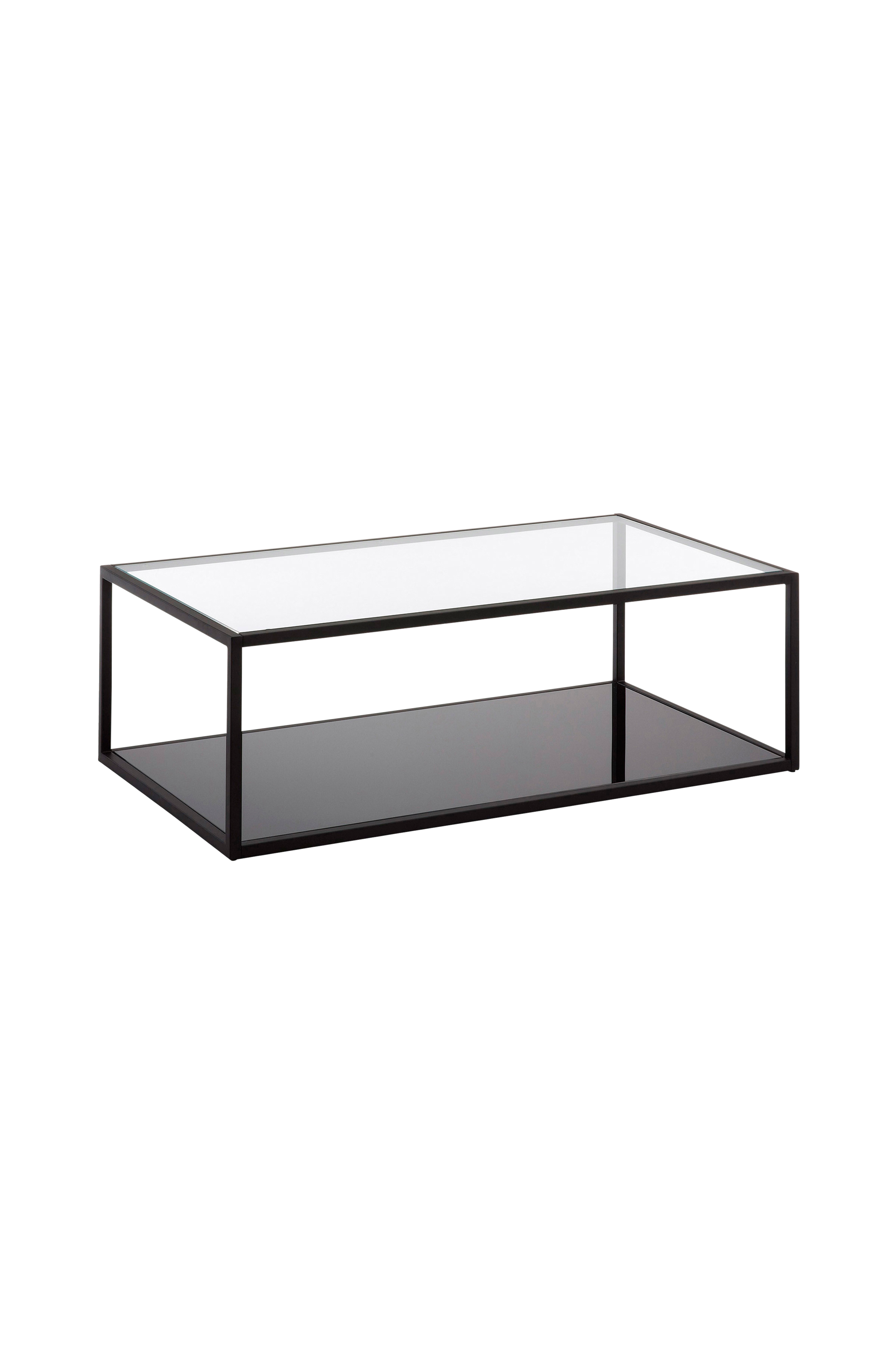 Ellos Home Soffbord GREENHILL 110×60 metall glas svart transparent Glas Hem& inredning