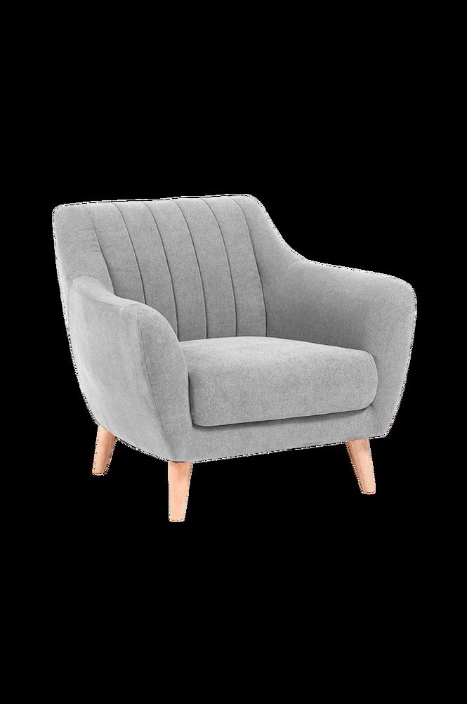 Fåtölj OFF trä/ljusgrå textil